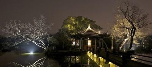 杭州湖中两岛夜景照明工程