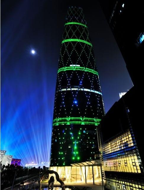 广州珠江新城西塔夜景照明工程