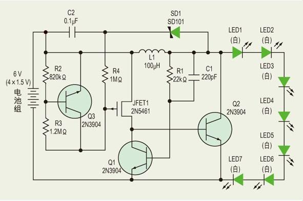 用电池组驱动七个高亮度白光led的电路设计