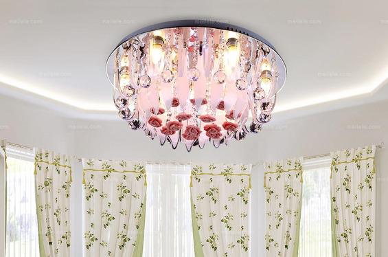现代时尚LED吸顶灯创意玫瑰花水晶灯客厅卧室书房