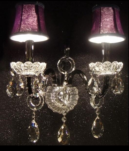 紫色田园欧式蜡烛水晶双头壁灯