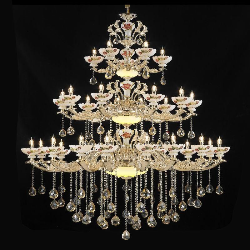欧式蜡烛水晶吊灯复式楼梯吊灯客厅餐厅酒店工程别墅