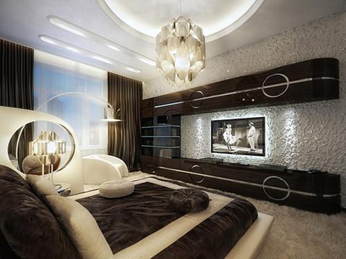 莫斯科黑白复古公寓照明设计