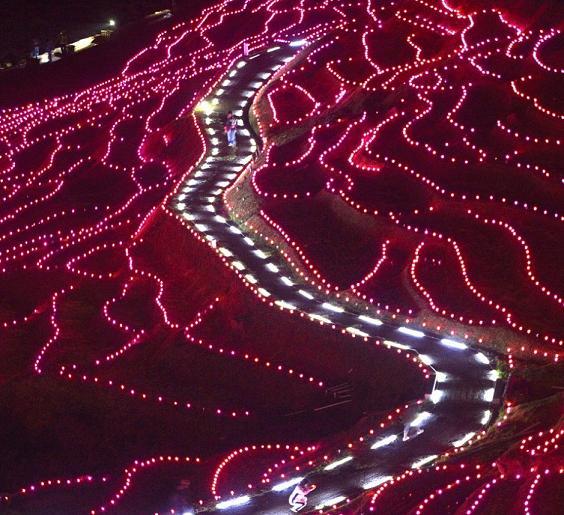 日本梯田被2万LED灯点缀景色炫丽