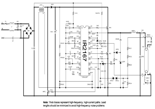 控制和保护功能的荧光灯镇流器